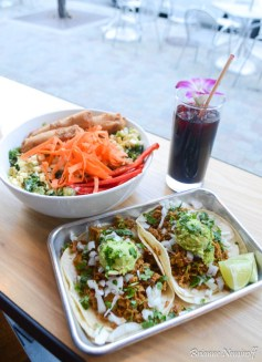 A fresca, vegan bowl, and vegan taco Boltcutter in Downtown Salt Lake City