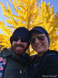 Benjamin Hagerty and Brianne Nemiroff of It's Bree and Ben at Frick Park with fall foliage