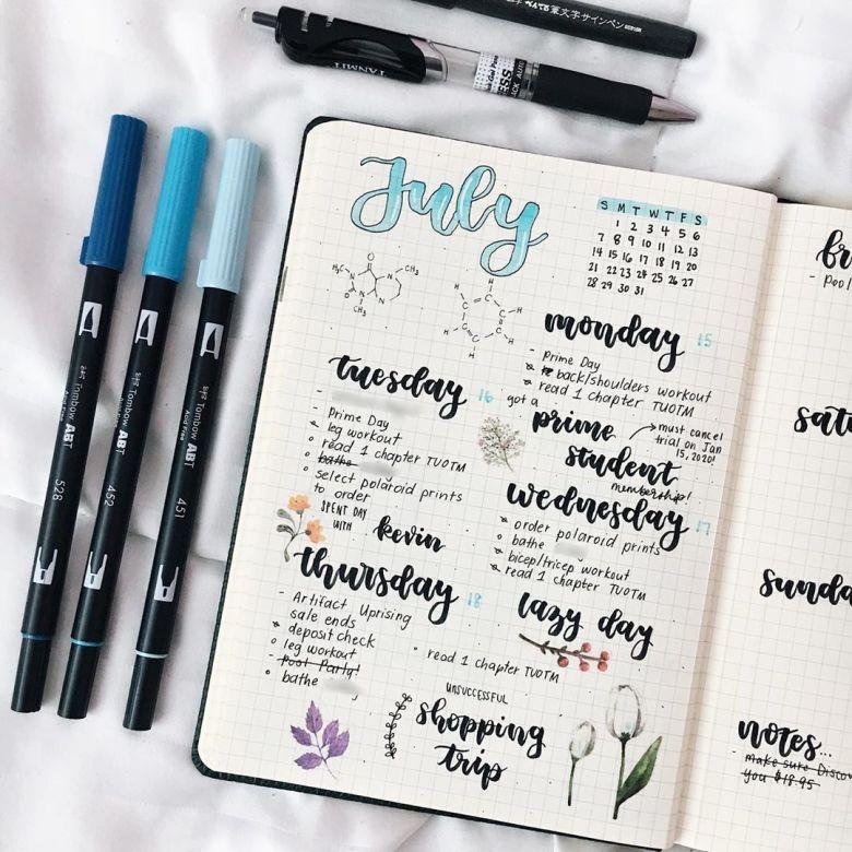 flowers bullet journaling