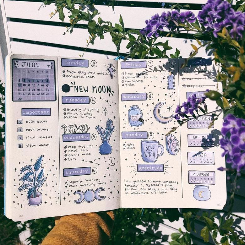 crystals moons bullet journal weekly spread