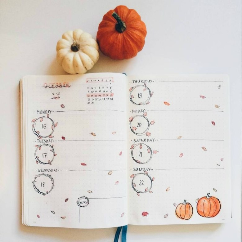 Fall-theme-bullet-journal-spread