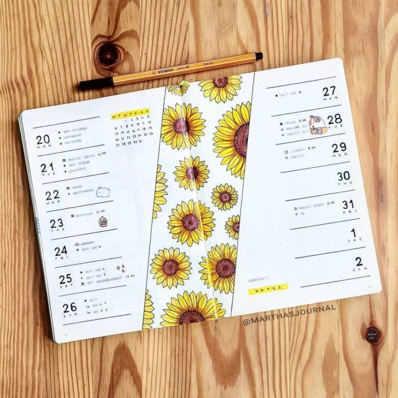 Sunflowers-spring-bujo-weekly-spread