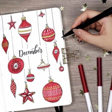 21 Christmas Bullet Journal Ideas For December. Ornaments December BuJo Cover.