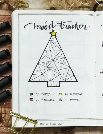 Christmas Tree Bujo Mood Tracker