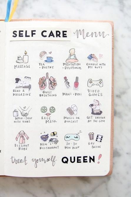 Bullet Journal Self Care Menu