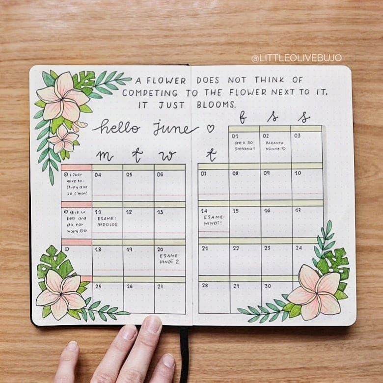 30 June Bullet Journal Ideas