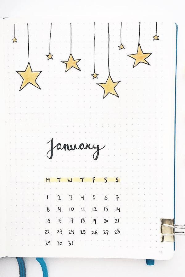 January bullet journal cover 2021