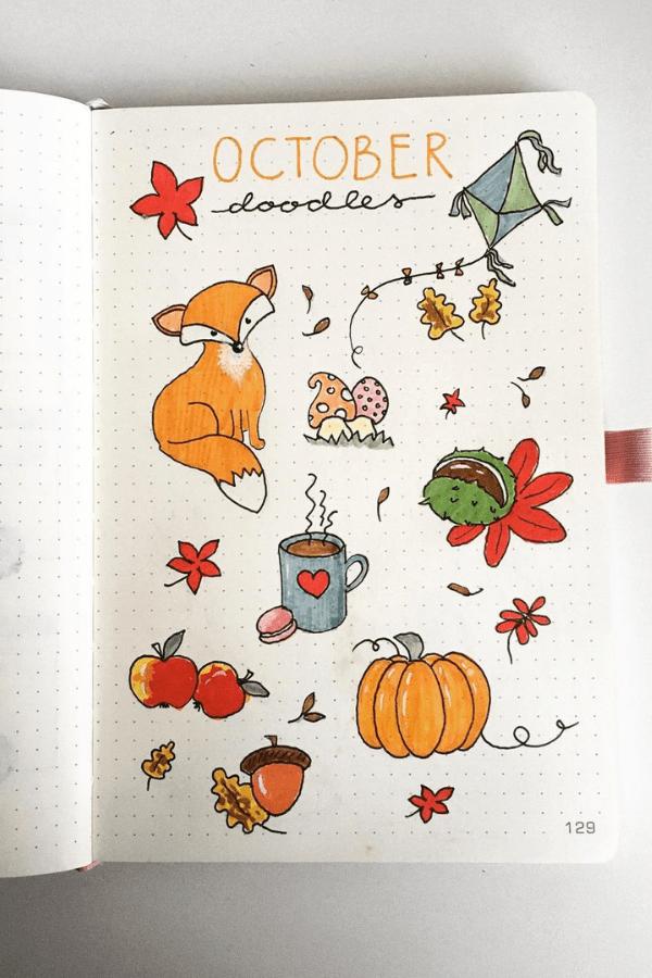 Bullet journal doodles Fall