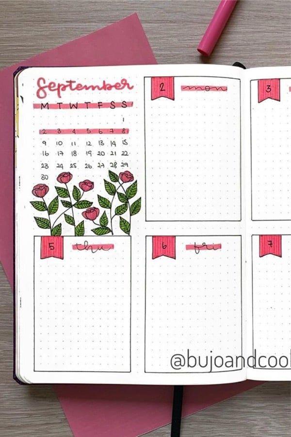 Bullet journal weekly spread simple