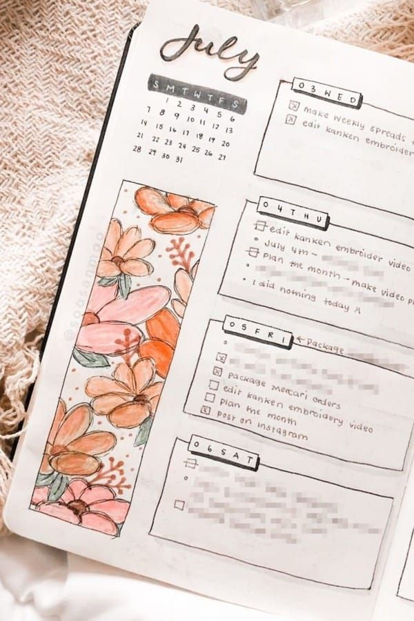 daily spread bullet journal