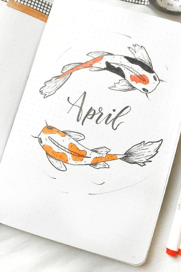 April bullet journal cover simple