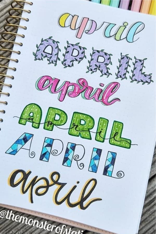 bullet journal April cover page