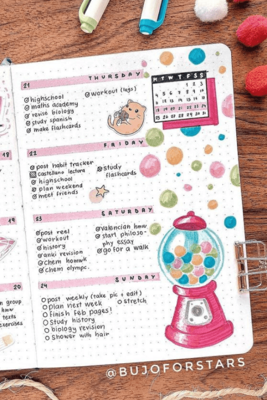 bullet journal monthly spread layout February
