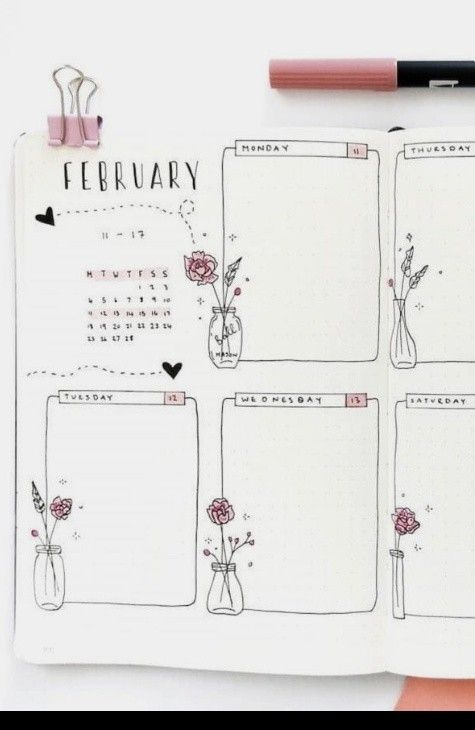bullet journal weekly spread layout February