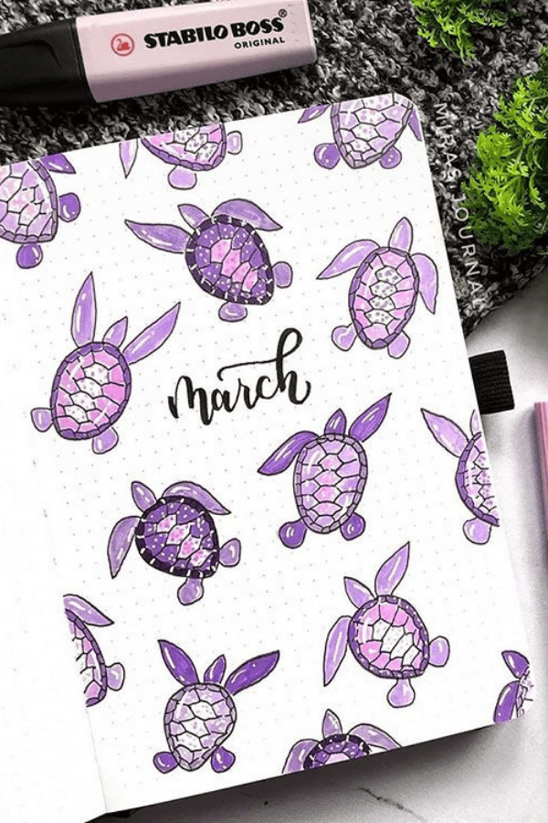 cover page bullet journal march