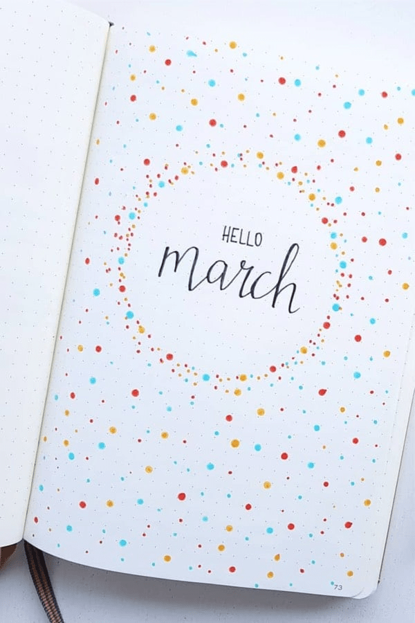 weekly spread bullet journal march