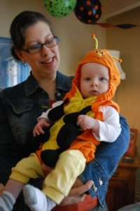 Baby E in caterpillar halloween costume
