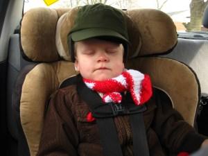 E asleep in the car