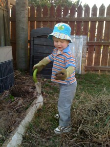 E helping with yard work