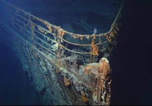 bow of the titanic wreckage