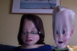 E and Mama block head photo booth