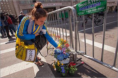 memorial at boston marathon bomb site