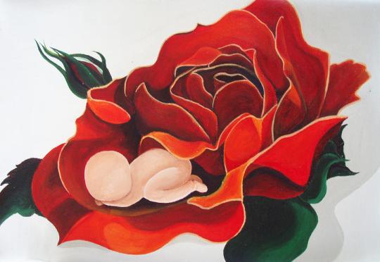 healing-painting-baby-sleeping-in-a-rose-catt-kyriacou