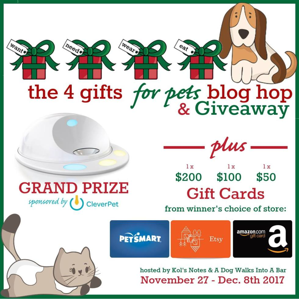 It's that time of year again! Time to celebrate our furry babies with the 4 Gifts for Pets Blog Hop. See what my Great Pyrenees want, need, wear, and eat this Christmas and enter to win some amazing prizes!