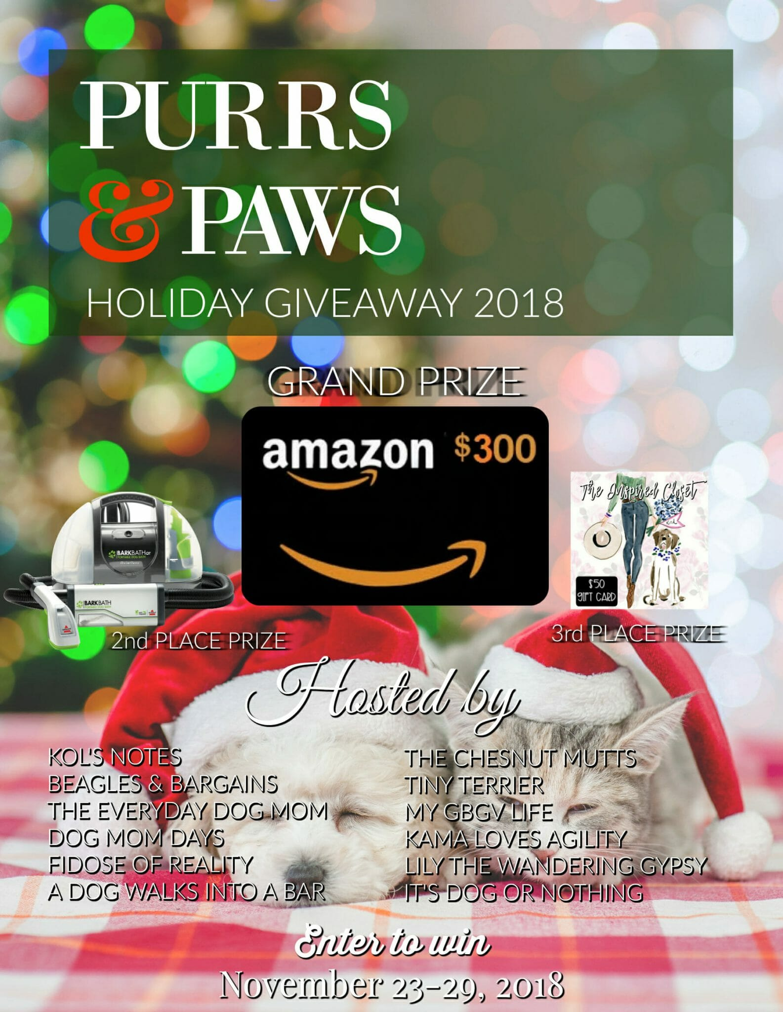 It's that time of year! Enter to win $500 in prizes in the Purrs & Paws Holiday giveaway on It's Dog or Nothing!