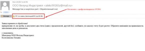 Реальное письмо от злоумышленников с прикрепленным активатором шифровальщика spora