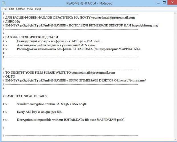 Сообщение шифровальщика Ishtar
