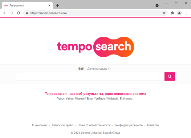 Temposearch.com, сервис, продвигаемый с помощью схемы перенаправлений