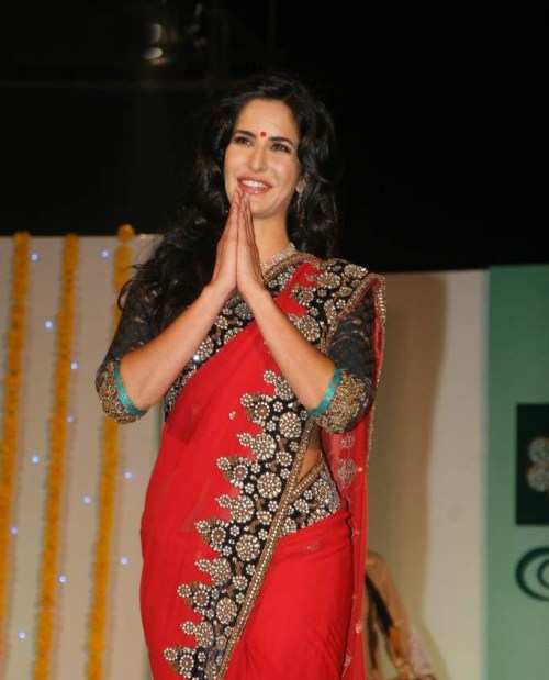 katrina in red saree