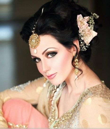 indian bridal hairstyles for long hair with half veil