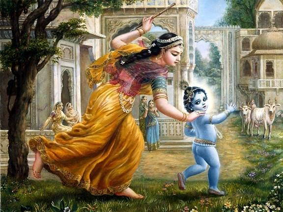 Krishna with his mother image of krishna childhood