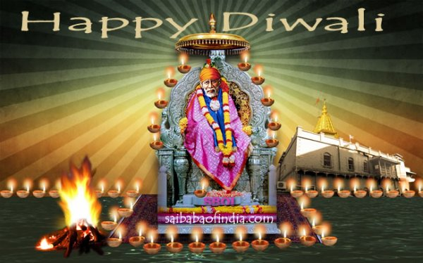 Saibaba wishing Happy Diwali