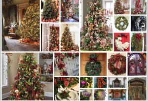Examples of Christmas Decor Staging/Styling for Front Doors, Interior Rooms, Porches & more with Wreaths, Garlands, Trees & other gorgeous decor items!
