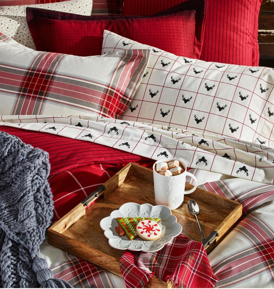 Martha Stewart Collection Deer Pond 100% Cotton Plaid Flannel Bedding at Macy's