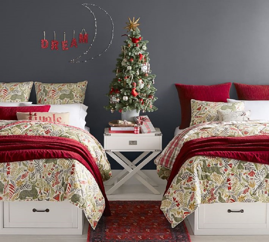 Velvet Channel Quilt Sham Ruby Llew Deer Reversible Comforter Sham from Pottery Barn