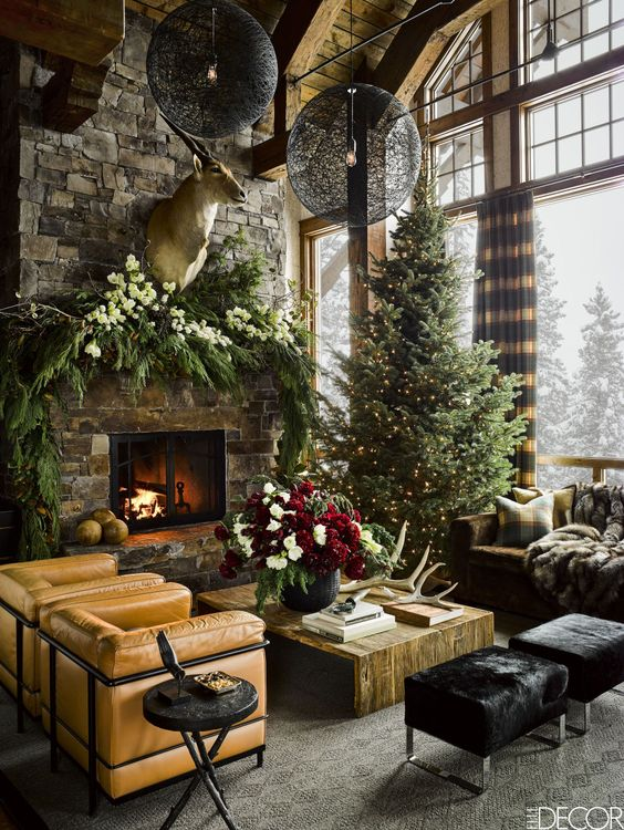 A Montana cabin's living room decorated for Christmas by Ken Fulk, Photographed by Douglas Friedman