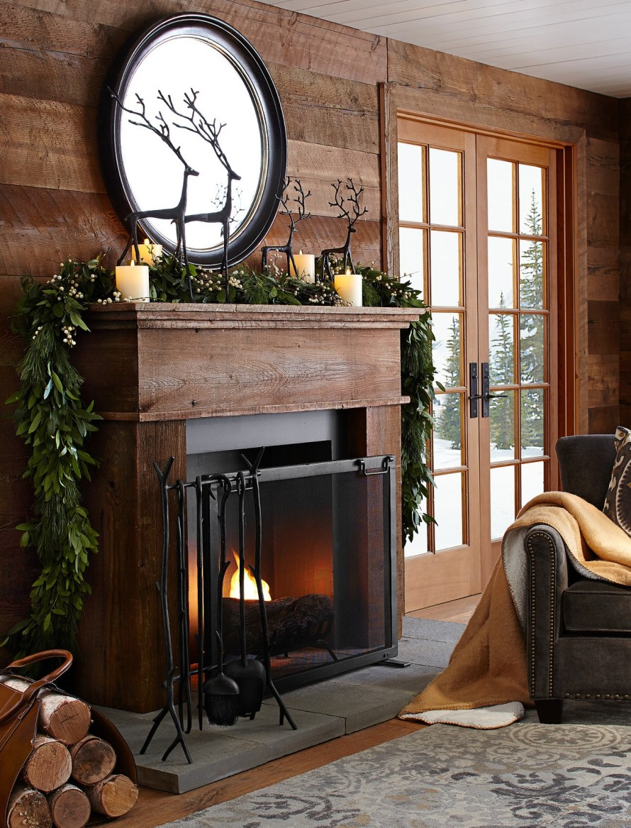 Masculine-styled Christmas Decor for Fireplace Mantle