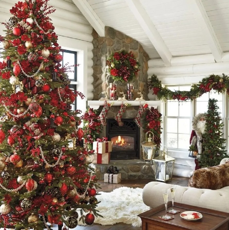 Highland Holiday 60-piece Ornament Collection on a tree, from Frontgate