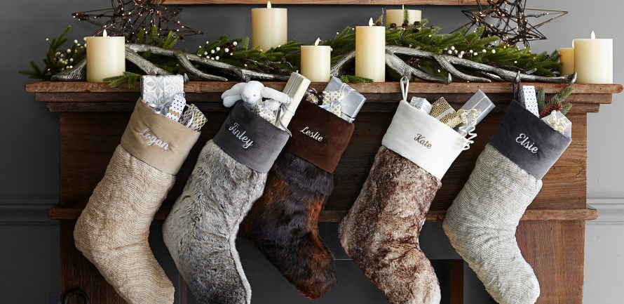 Christmas Stockings, chunky knit, shiny velvet, faux fur hanging at fireplace mantle