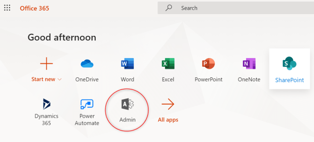 Office 365 home - select Admin app