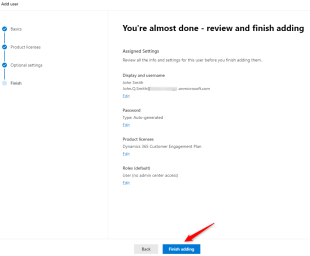 Finish adding user
