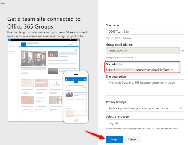 3.2. Enter details about the SharePoint Site