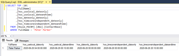 Viewing Date and Time fields in the datebase