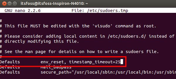 Change sudo password timeout in Ubuntu