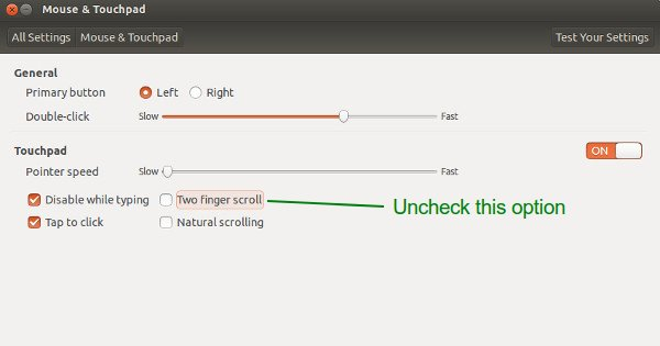 Enable edge scrolling in Ubuntu 13.10