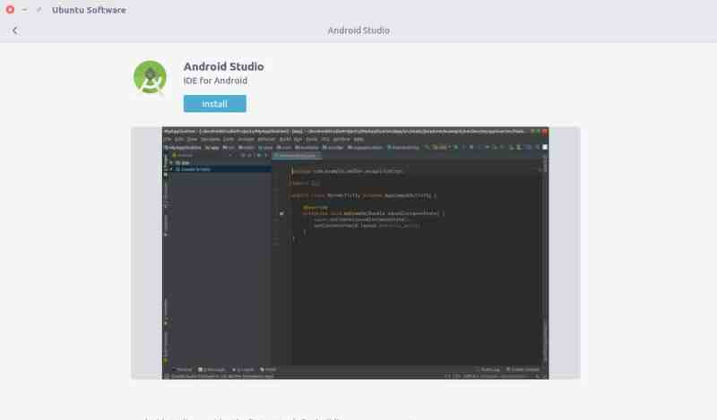 Install Android Studio in Ubuntu from Software Center